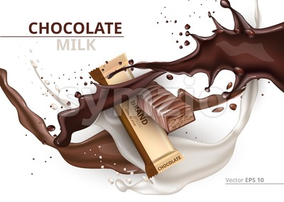 Chocolate bar caramel realistic Mock up Vector label design. Splash and chocolate drops backgrounds Stock Vector