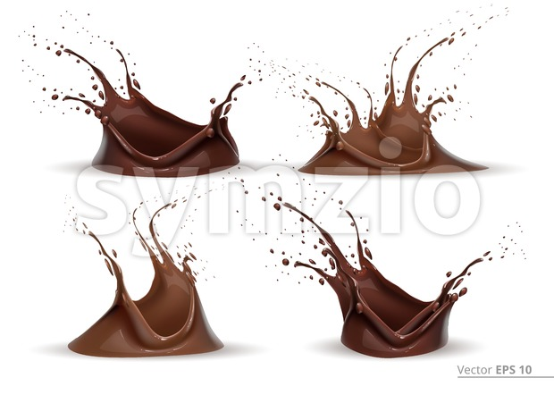 Realistic chocolate splash set Vector for design label, backgrounds, print, project Stock Vector