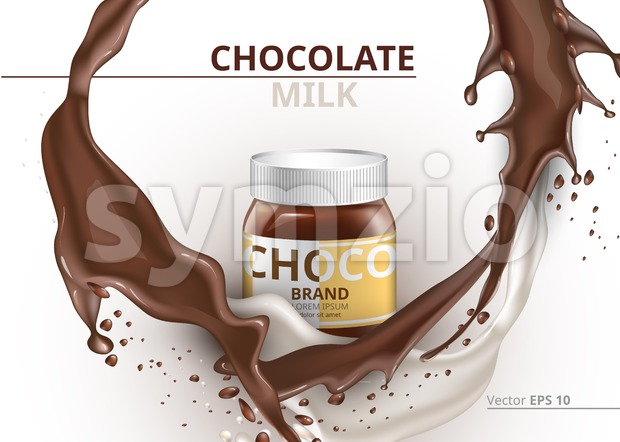 Chocolate bottle package mock up Vector realistic on splash backgrounds Stock Vector