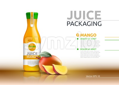 Mango juice packaging Realistic Vector mock up. Fruits juicy glass bottle advertise templates. 3d detailed elements Stock Vector