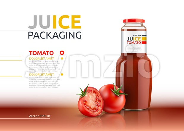 Tomato juice packaging realistic Vector mock up. Italian tomato sauce, seasoning or ketchup bottle. 3d detailed advertise template Stock Vector