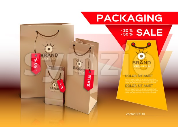 Sales packaging, shopping bags, mock up Vector realistic design. Place for text Stock Vector