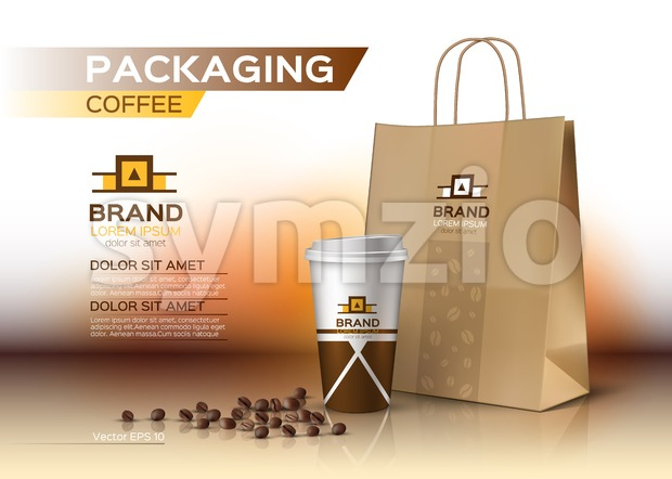 Coffee cup packaging mock up Vector realistic. Coffee beans and shopping bag product. Label logo designs Stock Vector