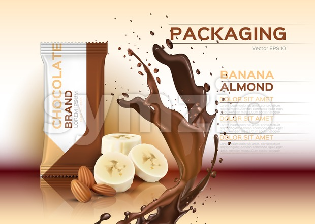 Chocolate with banana and almonds Vector realistic mock up. 3d packaging label design product. Chocolate splash background Stock Vector