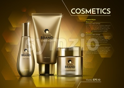 Gold Cosmetics Vector realistic package ads template. Face and body cream products bottles. Mockup 3D illustration. Sparkling background Stock Vector
