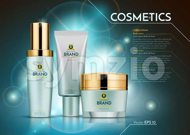 Cosmetics Vector realistic package ads template. Face and body cream bottles. Products Mockup 3D illustration. Sparkling blue background Stock Vector