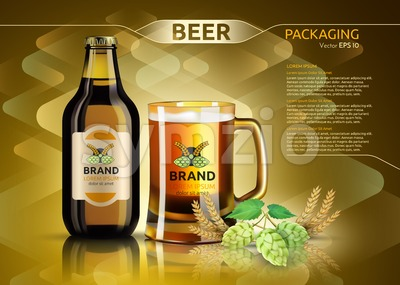 Vector Realistic beer bottle and glass. Brand packaging template. Logo designs. Gold background Stock Vector