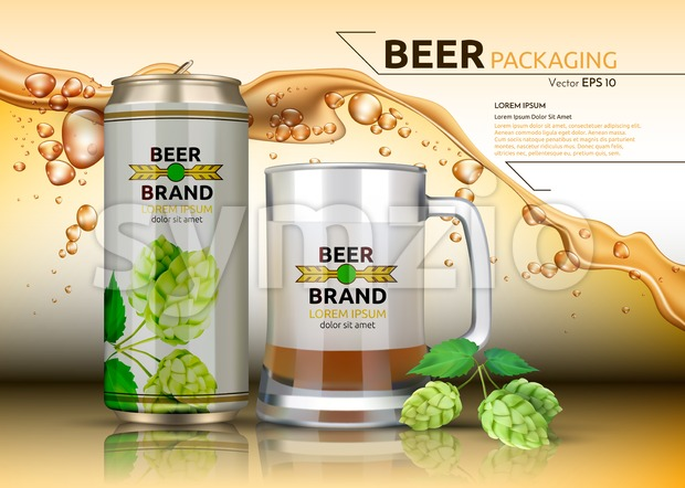 Vector Realistic beer metallic bottle and mug. Brand packaging template. Logo design. Splash beer background Stock Vector