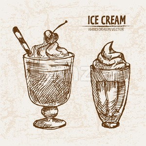 Digital vector detailed line art delicious ice cream in glass cups hand drawn retro illustration collection set. Thin artistic pencil outline. Vintage Stock Vector