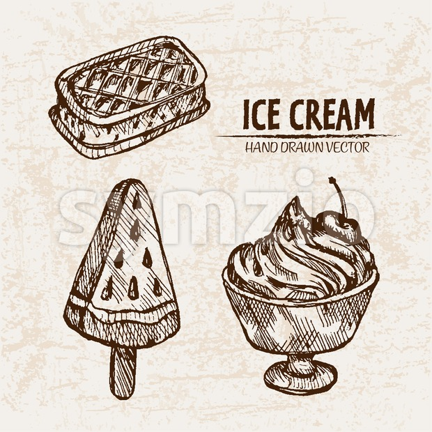 Digital vector detailed line art random ice cream presentation and hand drawn retro illustration collection set. Thin artistic pencil outline. Vintage Stock Vector
