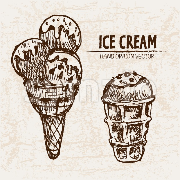 Digital vector detailed line art ice cream balls in cones hand drawn retro illustration collection set. Thin artistic pencil outline. Vintage ink Stock Vector