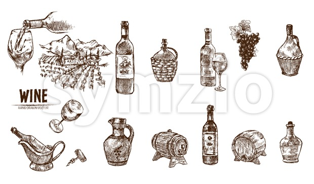 Digital vector detailed line art wine bottle, wineglass and opener hand drawn retro illustration collection set. Thin artistic pencil outline. Vintage Stock Vector