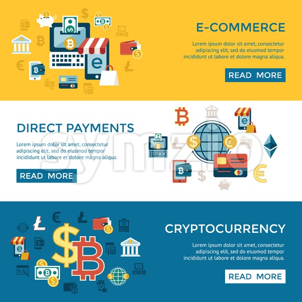 Digital vector bitcoin cryptocurrency and electronic money payments transfer icons set. Litecoin, ethereum, mining pools, blockchain and virtual Stock Vector