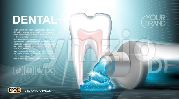 Digital vector blue medicine toothpaste Stock Vector