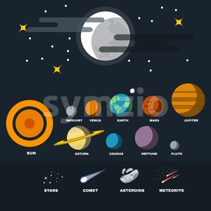 Solar System Planets, Stars, Asteroids, Meteorites and Comet. Astronomy Course Materials. Galaxy Planets set. Starry Night Sky with Full Moon. Vector Stock Vector