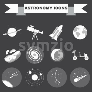 Astronomy Flat Vector Icons Set. Science objects for infographics, flyers, banners, brochures, books or booklets. Digital Illustrations on a space Stock Vector