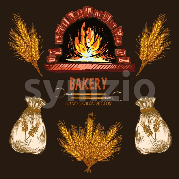 Digital color vector detailed line art red brick oven with woods on fire, golden wheat and flour sacks hand drawn retro illustration set outlined. Stock Vector