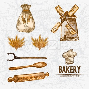 Digital color vector detailed line art golden wheat, oven fork, wooden paddle and rolling pin, flour sack with drawings hand drawn set outlined. Stock Vector