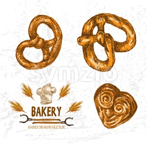 Digital color vector detailed line art golden pretzels, pig ears, wheat, oven forks and chef hat hand drawn illustration set outlined. Vintage ink Stock Vector