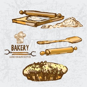 Digital color vector detailed line art golden pie with sesame, wooden paddle, oven forks, rolling pin on chopping board and flour hand drawn set. Stock Vector