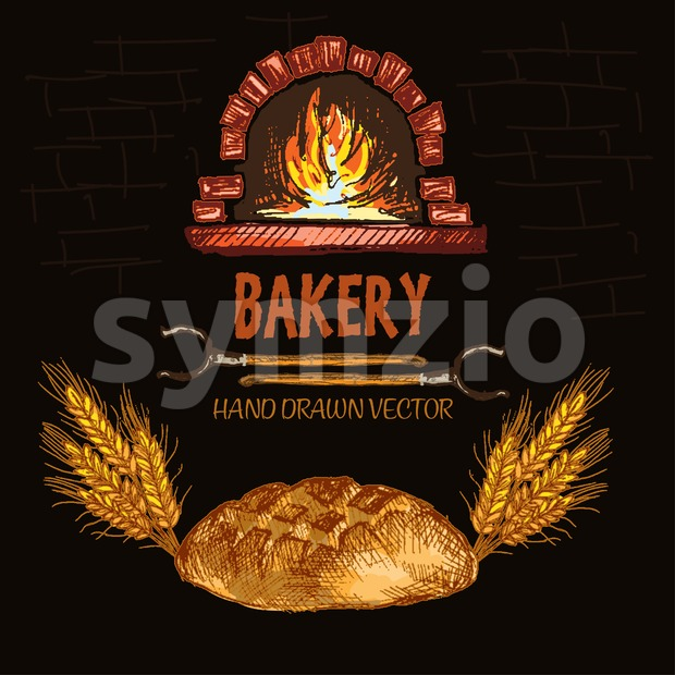 Digital color vector detailed line art round bread, wheat, oven forks and red brick oven with woods on fire hand drawn retro set. Vintage ink flat, Stock Vector