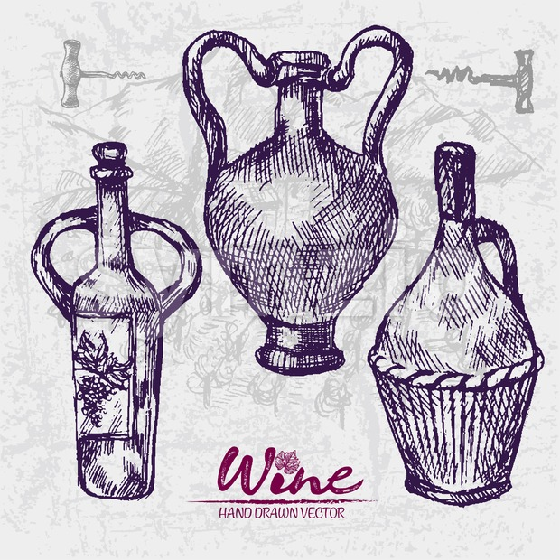 Digital color vector detailed line art wine old ancient pitchers hand drawn retro illustration set. Thin pencil artistic outline. Vintage ink flat, Stock Vector