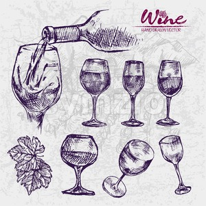 Digital color vector detailed line art different shapes of wine glasses and splashing pouring drink hand drawn set. Thin pencil outline. Vintage ink Stock Vector
