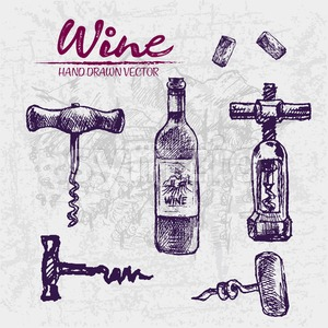 Digital color vector detailed line art wine glass bottle and different wing corkscrews hand drawn illustration set. Thin pencil artistic outline. Stock Vector