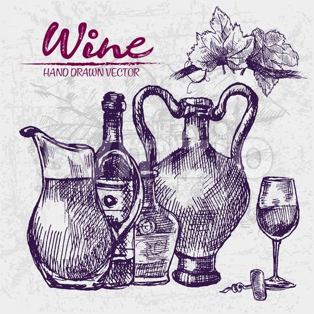 Digital color vector detailed line art wine old ancient pitchers, bottle, glass half full and leaves hand drawn retro illustration set. Vintage ink Stock Vector