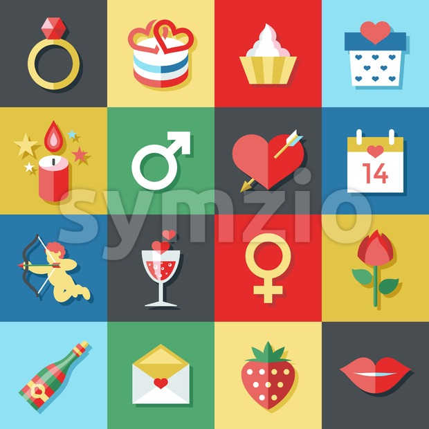 Digital vector february happy valentine's day and wedding celebration color simple flat icon set with red heart, angel and love isolated Stock Vector