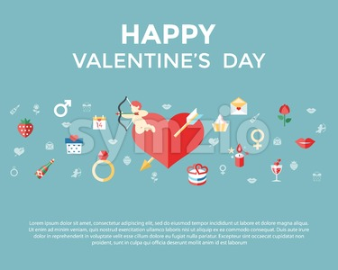 Digital vector february happy valentine's day and wedding celebration color simple flat icon set with red heart, angel and love isolated infographics Stock Vector