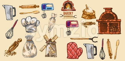 Digital color vector detailed line art pastry cream bag, oven glove, rolling pins, mixer, wheat, measuring cup and flour sack hand drawn set. Vintage Stock Vector