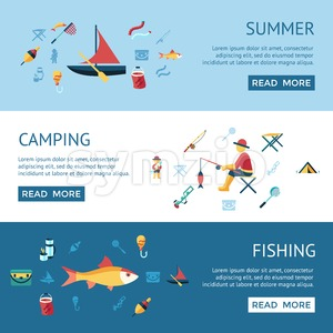 Digital vector fishing activity infographics set collection decoration objects color simple flat icon with holding net or rod, summer camping, Stock Vector