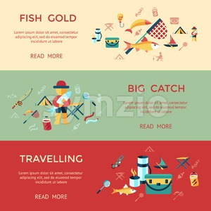 Digital vector fishing activity infographics set collection decoration objects color simple flat icon with holding net or rod, big catch, isolated Stock Vector
