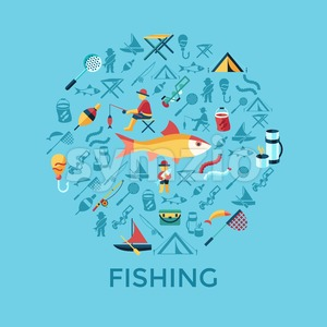 Digital vector fishing activity infographics set collection decoration objects color simple flat icon with holding net or rod, isolated Stock Vector