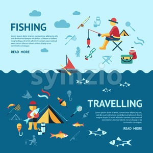 Digital vector fishing travelling activity infographics set collection decoration objects color simple flat icon with holding net or rod, isolated Stock Vector