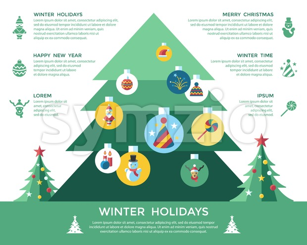 Digital vector christmas and new year holidays infographics set collection decoration objects color simple flat icon with fir tree, isolated Stock Vector