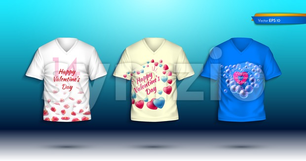 Happy Valentine Day T-shirts Vector realistic. detailed volumed shirts with prints Stock Vector