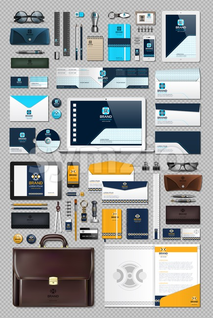Business corporate identity stationary items set. Vector working articles phone, tablet, maps, cards with brand logos. Work Stuff Stationery 3d Stock Vector