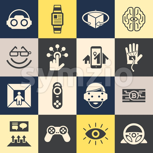 Digital vector virtual augmented reality concept set collection objects color simple flat icon, next generation gaming Stock Vector