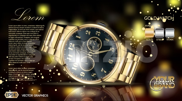 Gold watch mock up. Stock Vector
