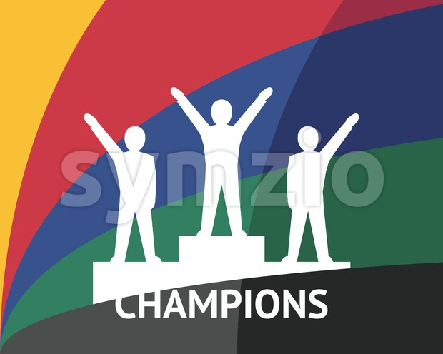 Digital vector white winners on podium pedestal color simple flat icon set collection, champions infographics, isolated Stock Vector