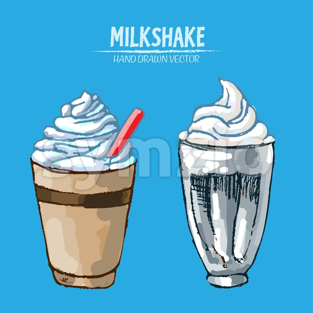Digital vector detailed line art milkshake with whipped cream hand drawn retro illustration collection set. Thin artistic pencil outline. Vintage ink Stock Vector