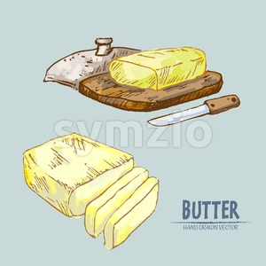 Digital vector detailed line art butter slices with knife hand drawn retro illustration collection set. Thin artistic pencil outline. Vintage ink Stock Vector