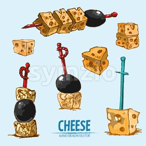 Digital vector detailed line art sliced cheese on skewer hand drawn retro illustration collection set. Thin artistic pencil outline. Vintage ink flat, Stock Vector