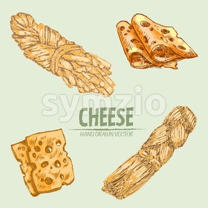 Digital vector detailed line art braid, sliced cheese with holes hand drawn retro illustration collection set. Thin artistic pencil outline. Vintage Stock Vector