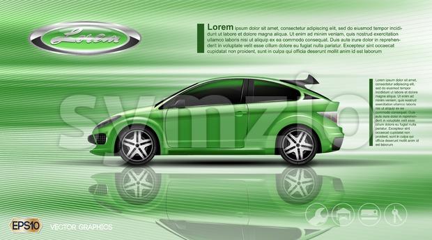 Digital vector green car with black windows mockup Stock Vector