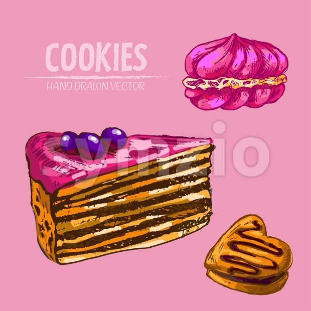 Digital vector detailed line art cakes slices with fruits with hand drawn retro illustration collection set. Thin artistic pencil outline. Vintage ink Stock Vector