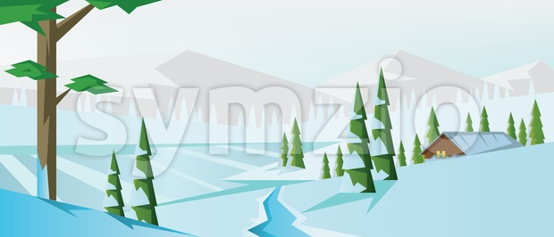 Digital vector abstract background with winter Stock Vector