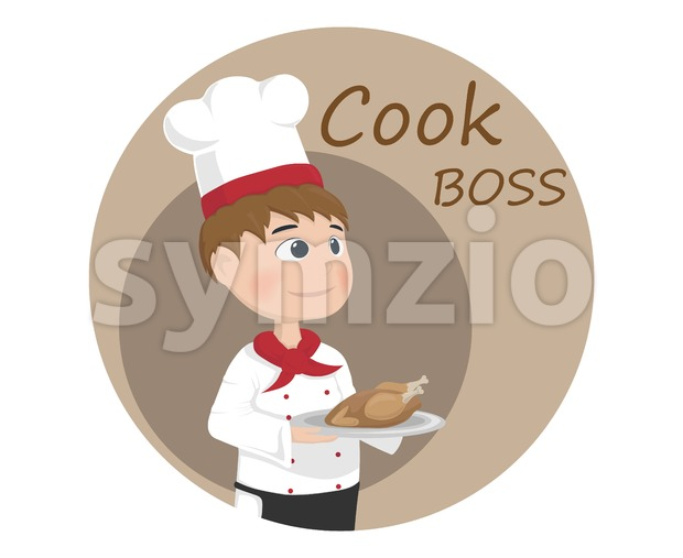 Man cooking chief Vector. Cartoon character Logo template Stock Vector